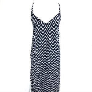 Gap zig zag maxi dress w/ cross cross straps